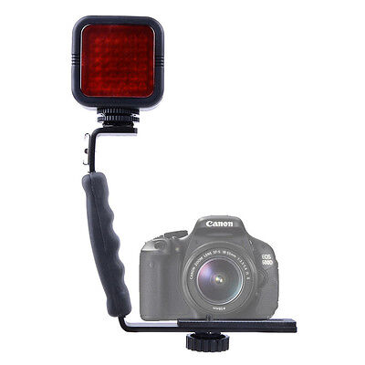 L-Shaped Bracket Handle Grip Stabilizer+ 36IR LED Infrared Light For DSLR Camera