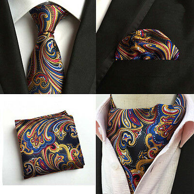 Men Colorful Paisley Floral Silk Tie Necktie Cravat Ascot Handkerchief Set Lot