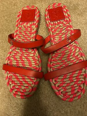 Tory Burch 6.5 red double strap sandals in excellent condition.
