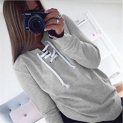 New Womens Popular Casual Lace-up Long Sleeve Blouse Shirt Outdoor Slim Tops