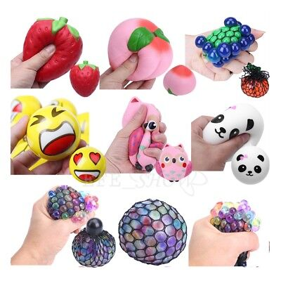 Grape Peach Cake Sensory Squishy Squeeze Ball Anti Stress ADHD Relief Autism Toy