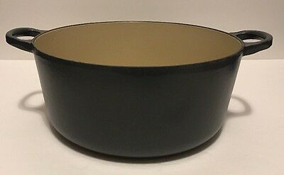 "LE CREUSET #24 9 1/2"" Grey Cast Iron Enamel Dutch Oven With No Lid 4.5 Quart"