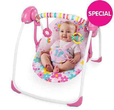 Bright Starts baby Portable Swing - Flutterdot Seat reclines to different angles