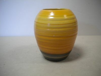 deco Shelley harmony banded ware yellow green brown vase