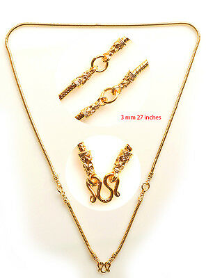 Necklace Gold plated micron 3 hook 27 inches for thai buddha amulet pendants F2