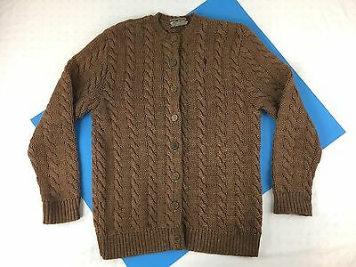 RARE VINTAGE CATALINA CABLE 50s 60s WOOL CARDIGAN SWEATER COIN BUTTON KNIT RETRO