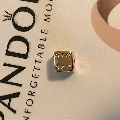 14K Gold Retired White Diamond Lucky Die Dice Las Vegas PANDORA Charm 750469D