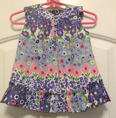 Girl's Baby Gap Bright Pastel Floral Cotton Sleeveless Lined Dress Sz 0-3 Months