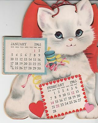 "Vintage Kitty Cat Calendar 1965 6"" tall"