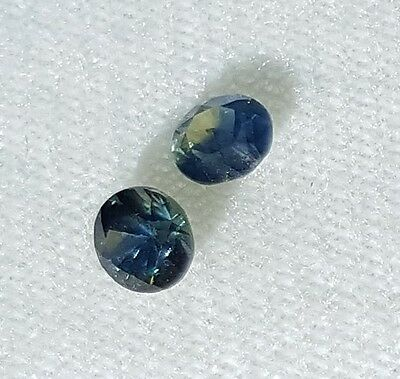 Sapphire Pair - Blue Green Party - Natural Earth Mined 0.84 ct Rubyvale