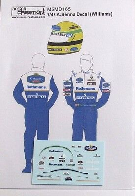 1/43 A.Senna Figure Decal Williams 1994 for Minichamps