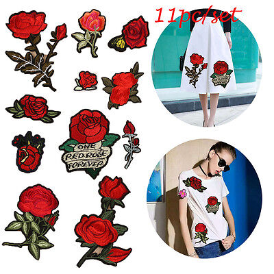11PCS/SET Embroidery Rose Flowers Iron On Patch Badge Applique Patches With Glue