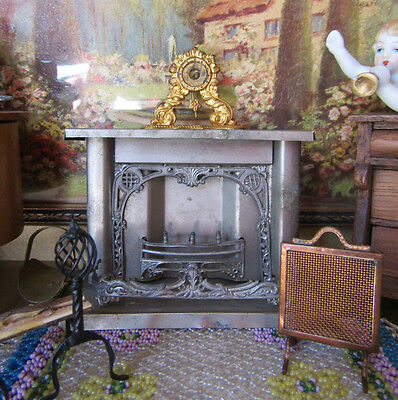 Antique Dollhouse Fireplace Miniature Metal Tin Ornate 1800s Victorian Germany