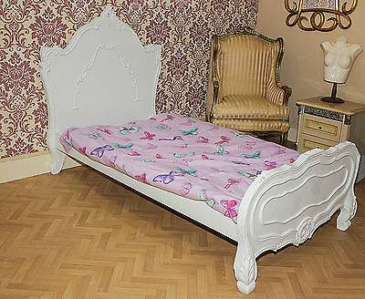 French 3Ft Single Bed White Antique Style Shabby Chic Louis Childs Girl