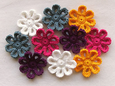 ●● 10 x Crochet Applique - Pretty Daisy Flowers in Assorted Colours ●●