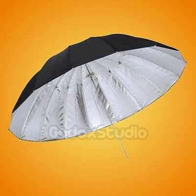 185cm 16-Rib Silver / Black Reflective Umbrella for Studio Flash Strobe UK Local