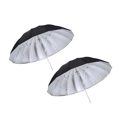 2PCS 185cm 16-Rib Silver / Black Reflective Umbrella for Studio Flash Strobe UK