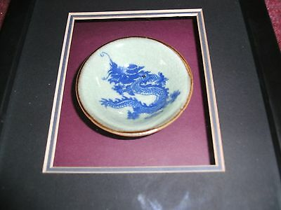 Nice old ? chinese dragon bowl  in mounted frame