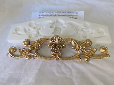 Silicone Rubber Mold ~ Ornate Scrolls With Small Center Rose ~