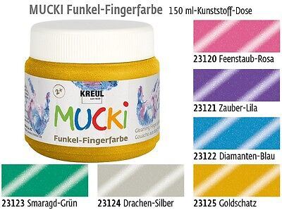 (100ml=2,86€) Mucki Fingerfarbe Fingermalfarbe 150ml - 6 Funkel Glitzer Farbtöne