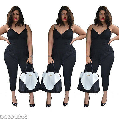 Plus Size New Women Clubwear Summer Playsuit Party Jumpsuit Romper Trousers