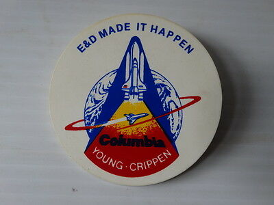 Vintage E&D Columbia STS-1 Space Shuttle Young Crippen NASA Pin Badge Trammell