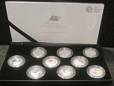 Britannia 25th Anniversary 9-Coin Set- The Silver Portrait Collection-Black Case