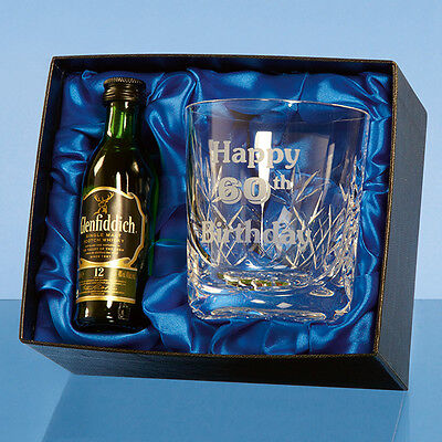 Panelled Whisky Glass + 5cl Whisky Minature In Satin Lined Box Birthday Fathers