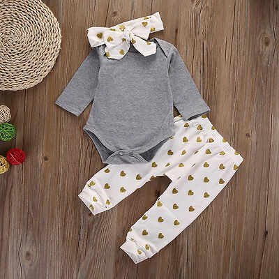 3PCS Cute Newborn Baby Girl Romper Tops Long Pants Headband Outfits Clothes Set