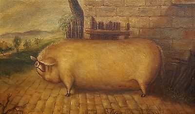 Oil Painting on Canvas of a Pig Naive Style