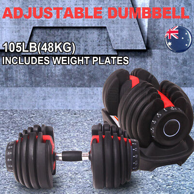 Adjustable Dumbbell Weight Setting 48KG Home Fitness Gym Strength Exercise New