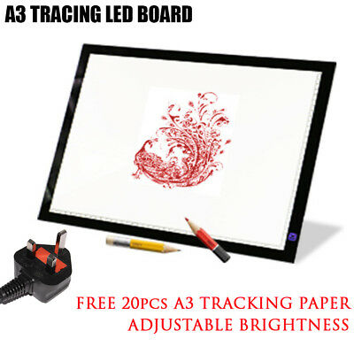 A3 LED  Slim Art Craft Drawing Tracing Tattoo Light Box Pad Board Free 20x Paper
