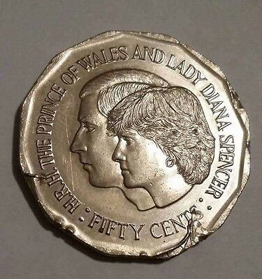 VERY RARE Unc Australian Charles & Diana Flawed 50c Error Coin, Scarce Error