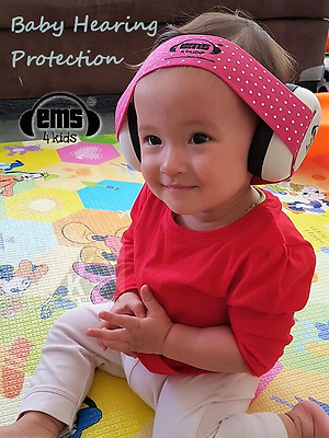 Baby Hearing Protection - Ems for Bubs WHITE Earmuffs & Adjustable Headband