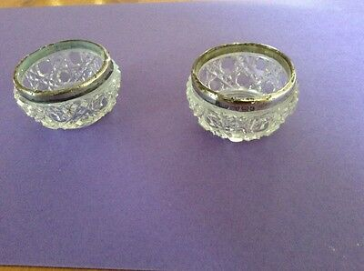 M Bros. Solid Silver Rimmed Cut Glass Salts Pair Victorian