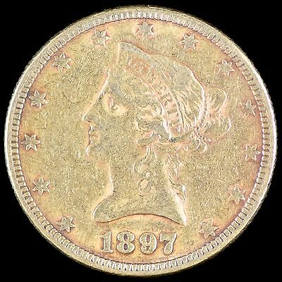F VF 1897 Gold US $10 Liberty Head Eagle Coin NO RESERVE Collection Ten Dollars