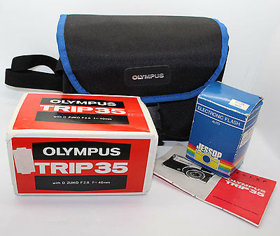 Olympus Trip 35 Vintage Camera 35mm Film, Flash, Case, Lens Cap, Box & Bag VGC