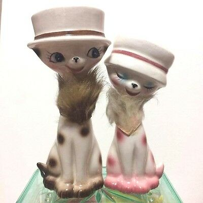 """Vintage Pottery Ornament Set of 2 Couple Cats Hat Figurines  5"""" Japan F/S"""