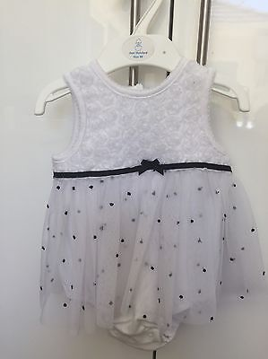 Baby Girls White Dress, Romper, Little Me Brand, Size 9 Months