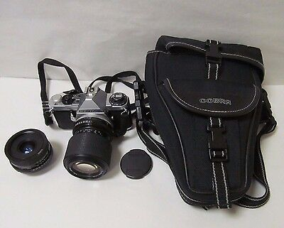 Pentax Me Super Slr Camera With Tamron Macro Lens + Spare Lens & Case - Used