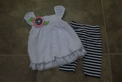 Rare Editions Toddler Girls 2 Piece Summer Capris Outfit Size 18 Months Euc!