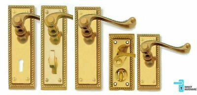 Georgian Door Handles Lever LOCK, LATCH, PRIVACY or BATHROOM Polished Brass