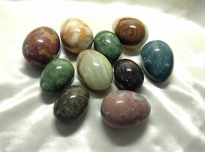 Alabaster And Marble Eggs, Some Vintage, Lot of 10