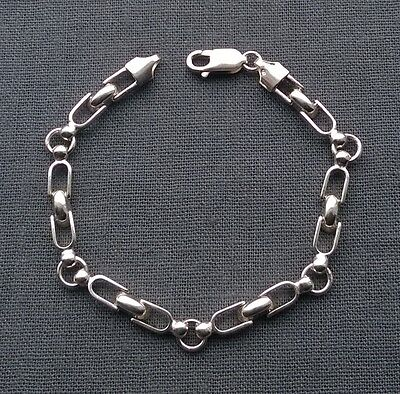 """FULLY HALLMARKED Solid 925 STERLING Silver Cool connecting links bracelet 7.5"""""""