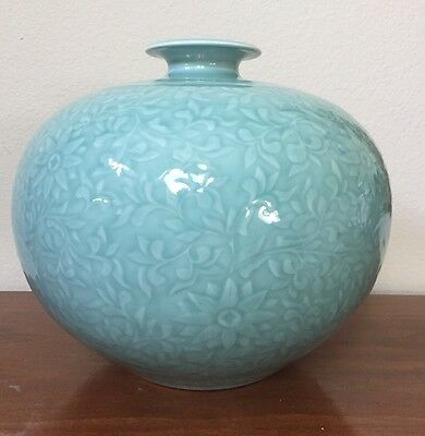 Celadon Green Glazed Ceramic Pottery Korean Round Flowers Vase Signed Large