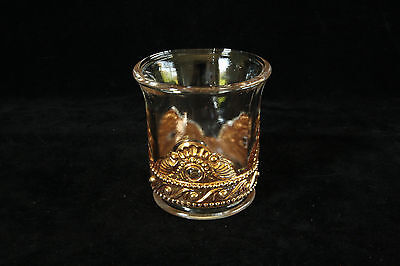 Vintage Le Smith Glass Gold Decorated Crystal Lacy Medallion Toothpick Holder