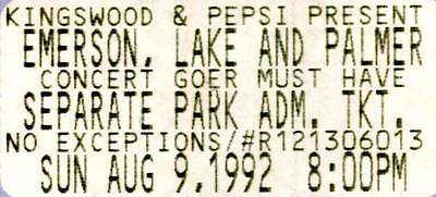 ELP -Emerson Lake and Palmer Ticket Stub 1992-Toronto's Kingswood Music Theatre.