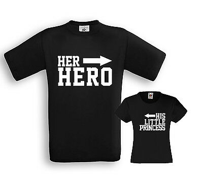 Her HERO / His little PRINCESS - Vater / Tochter Partner Shirts - Papa Familie