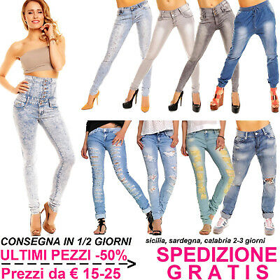 Jeans Donna Chiari Pantaloni Skinny Slim Fit Elasticizzati Stretch Moda Fashion