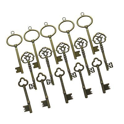 N'joy 15-Piece Mixed Steampunk Vintage Skeleton Keys,Extra Large,Antique Bronze(
